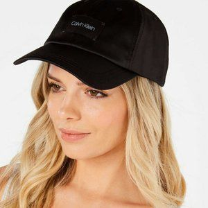 Calvin Klein Logo Tag Satin Baseball Cap Hat Black